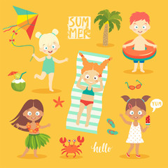 Wall Mural - Summer Kids set, swimming, playing on the beach and having fun.