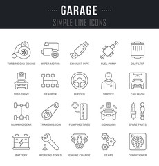Set Vector Line Icons of Garage.