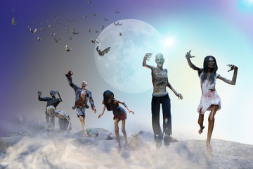 3D Illustration of a crowd of zombies Halloween background