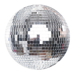 Shining Disco Ball Party Efect isolated on white