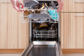 Photo of girl's hand opening dishwasher with dirty dishes