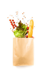 Photo of paper bag with vegetables and fruits