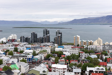 Aerial view of downtown Reykjavik. Capital of Iceland