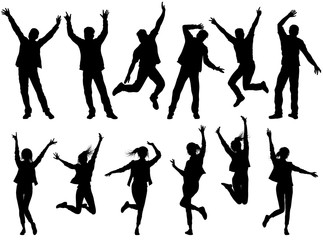 Illustration with happy people silhouettes isolated
