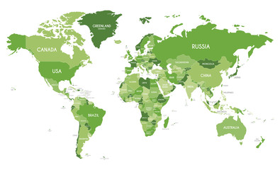 Political World Map vector illustration with different tones of green for each country. Editable and clearly labeled layers.