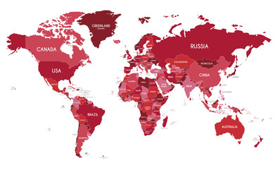 Foto op Plexiglas Wereldkaart Political World Map vector illustration with different tones of red for each country. Editable and clearly labeled layers.