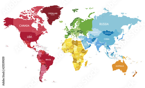 Political World Map vector illustration with different ...