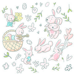 Cute girly hand drawn cute bunnies and flowers.