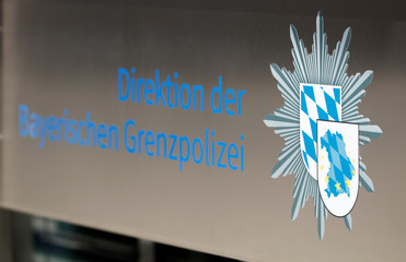 The logo of the newly created Bavarian border police department is pictured in Passau