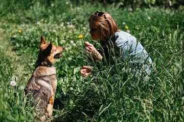 Photo of woman with dandelion on walk with dog on green lawn