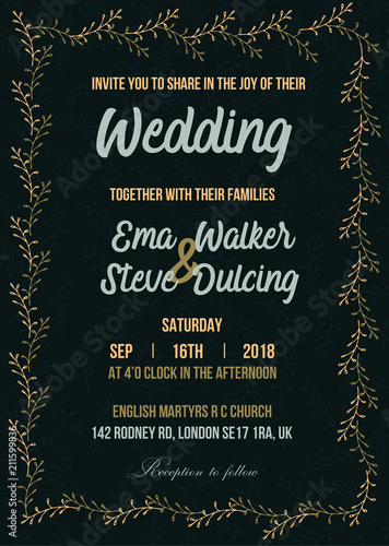 Wedding Invitation Letter Vector Illustration Stock Image And