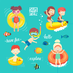 Wall Mural - Summer Kids set, swimming, diving, playing and having fun in the water.