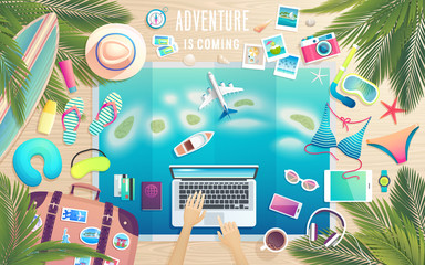 Wall Mural - Adventure is comming. Preparing for the trip to tropical paradise.