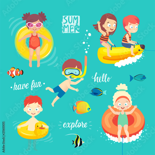 Wall mural Summer Kids set, swimming, diving, playing and having fun in the water.