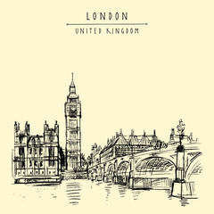 London, England, United Kingdom. Big Ben, Houses of Parliament, river Themes and Westminster bridge. Travel sketch