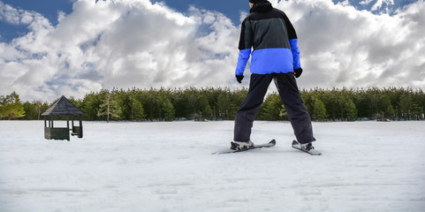 Skiing man on ski in jacket looking on bench and pine tree forest with cloudy sky