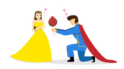 Prince give flower bouquet to princess, vector art