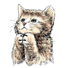 Photo sur Toile Croquis dessinés à la main des animaux lovely kitten hand drawn vector