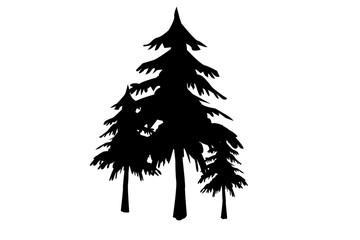 Siluetas negras de árboles.