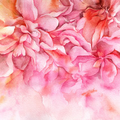 Watercolor abstract flowers. Pink floral illustration. Interior floral painting. Fine art. Wall art. Wedding invitation design.
