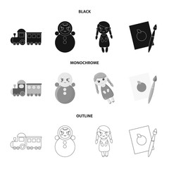 Train.kukla, picture.Toys set collection icons in black,monochrome,outline style vector symbol stock illustration web.