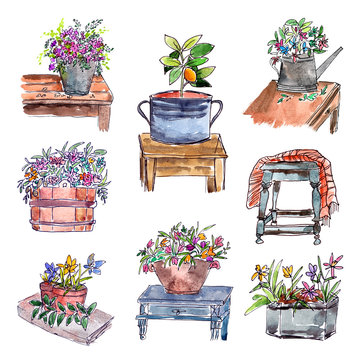 City sketch. Provence. Garden decorations painting. Floral art. Drawing garden with chair, table, flowers, vase, bench, watering can.