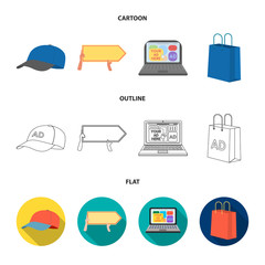 Baseball cap, pointer in hands, laptop, shopping bag.Advertising,set collection icons in cartoon,outline,flat style vector symbol stock illustration web.