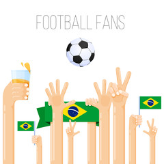 Vector illustration of football fans, soccer world cup, country cup