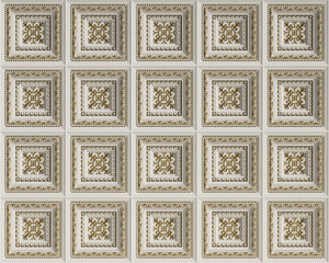 Classic interior flat caisson ceiling.White and gold decoration