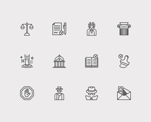Court icons set. Court and court icons with balance, detective and stamp. Set of contact for web app logo UI design.