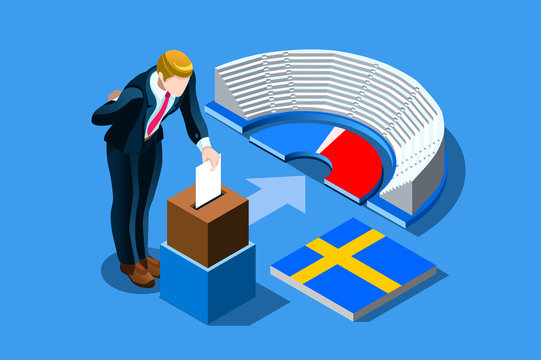 Sweden election voting concept with characters. Isometric people, Swedish man putting vote in the ballot box. Flat Isometric character illustration. Landing page for web.