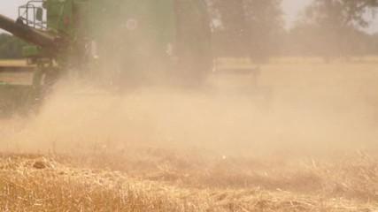 Etiqueta Engomada - Combine harvester for harvesting wheat. Slow motion