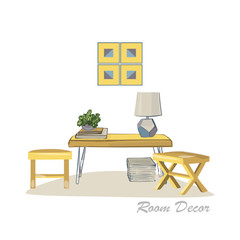 Interior design illustration. Modern elements living room trendy style. Home house decoration. Furniture lounge. Table coffee chair stool lamp books plant. Pastel colors Flat vector isolated