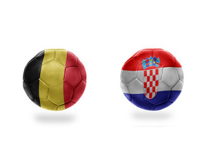 football balls with national flags of belgium and croatia.