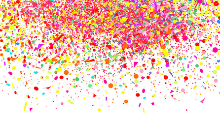 Wallpaper with multicolored confetti on white. Pattern for design. Background with glitters. Print for polygraphy, posters, banners and textiles. Greeting cards. Explosion. Firework
