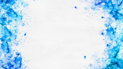 Abstract blue paint splatter borders on white