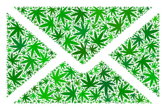Mail envelope collage of cannabis leaves in variable sizes and green hues. Vector flat cannabis items are united into mail envelope illustration. Narcotic vector illustration.