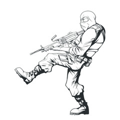 contour drawing of soldier SWAT with a machine gun
