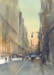 modern city street view watercolor