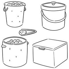 vector set of ice bucket