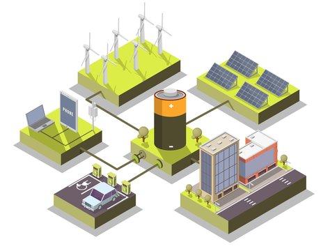 Alternative energy vector isometric illustration