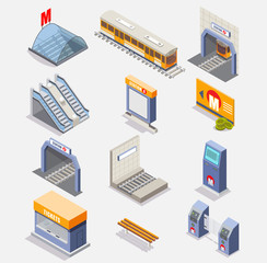 Subway or underground vector isometric icon set