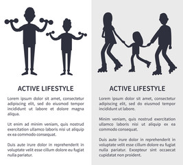 Active Lifestyle, Picture with People Silhouettes