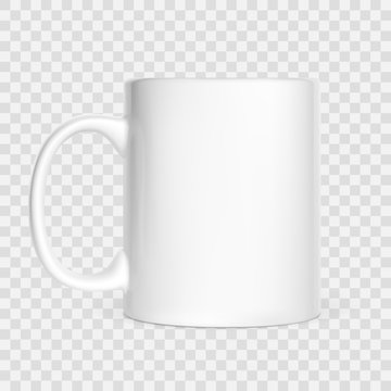Realistic white cup isolated on white background