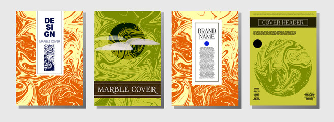 Ocher Marble Ink Texture Cover Set. Liquid Oil Paint A4 Vector Trendy Magazine Design. Ebru Ink Wash Package Background. Corporate Identity Exotic Marble Ink Texture Cover.