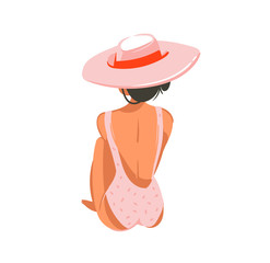 Hand drawn vector abstract graphic cartoon summer time flat illustrations with relaxing girl in pink hat isolated on white background