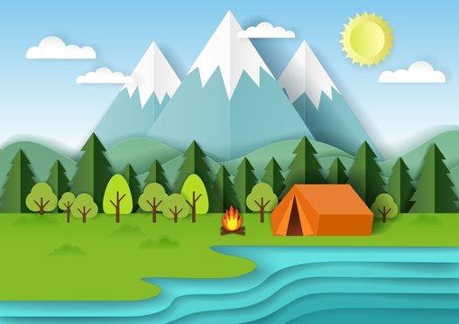 Summer camping vector paper cut illustration