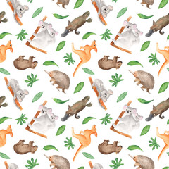 Watercolor pattern with animals and plants in Australia. Seamless texture with kangaroos, koala, echidna, wombat, eucalyptus leaves. For children's maps, zoos, children's shows, wallpapers, invitation