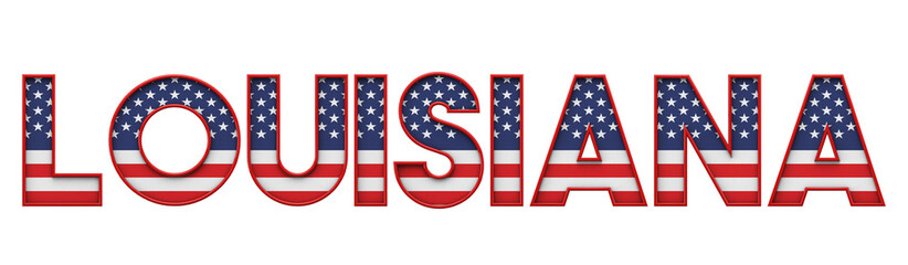 Louisiana USA state made from starts and stripes lettering. 3D Rendering