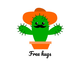 A funny illustration of a cactus with mustache and hat reglando hugs